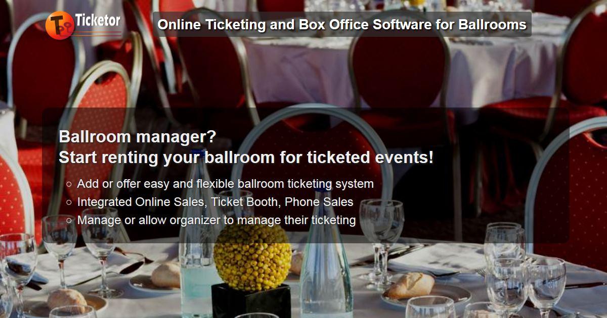 Ticketor - vende entradas en línea para un evento de mesa redonda en un salón de baile, como una gala o una recaudación de fondos.