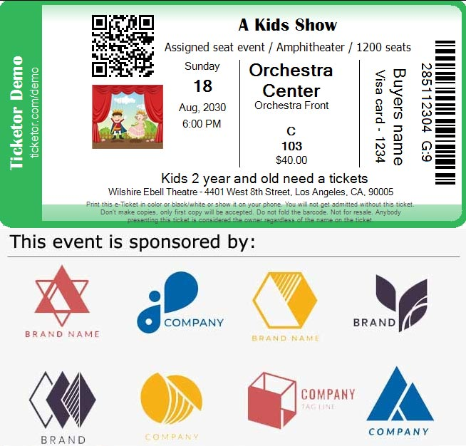 Ticket with sponsolrs logos