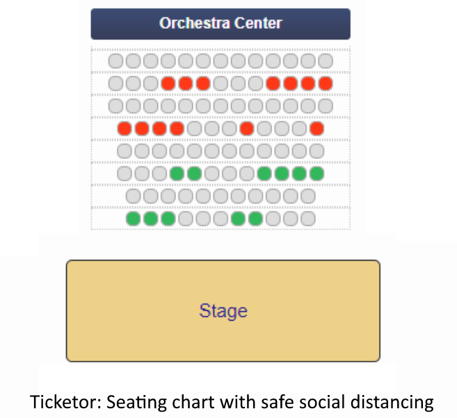 Event seating chart with social distancing due to covid19