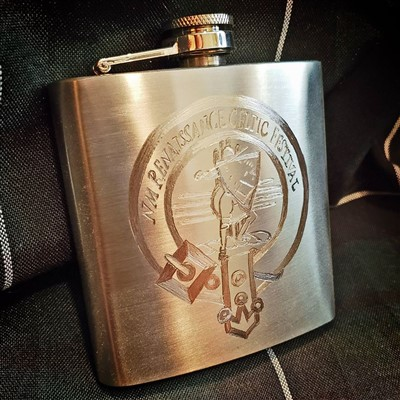 6oz Hand eched NMRCF Flask