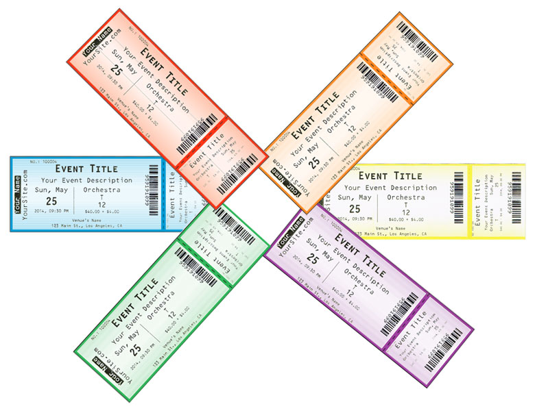 Hard (physical thermal) tickets printerd by Ticketor in 6 different colors