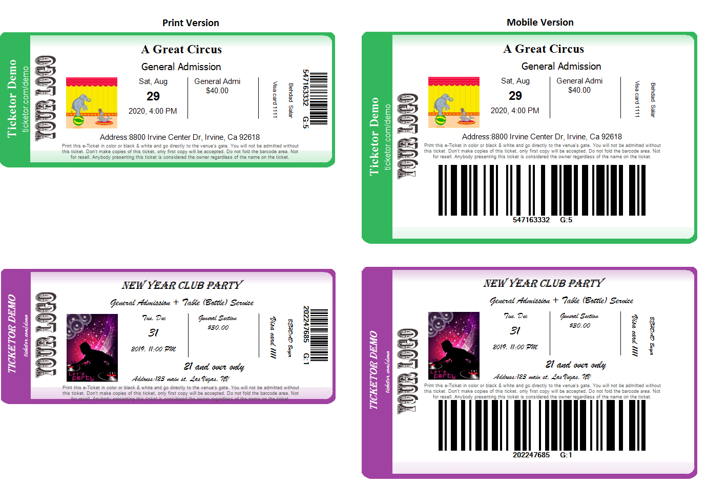 Ticketor e-tickets print version vs mobile version. Big barcode to be easily scanned from the phone display.